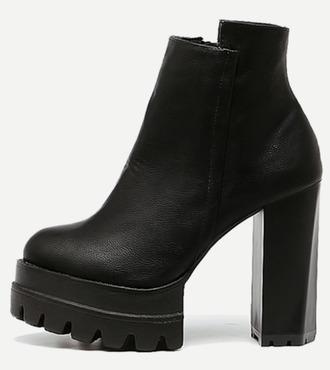 shoes girl girly girly wishlist black boots booties heels heel heeled black boots chunky sole chunky heels chunky boots high heels boots ankle boots leather