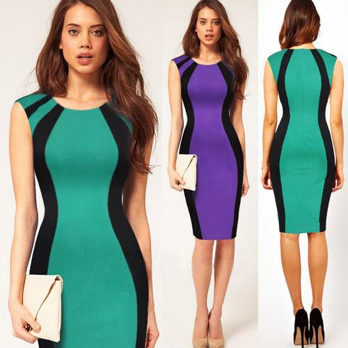 Fashion 2014 newest Knee shipping wholesale Womens sleeveless Neck Bodycon slim Business sheath Pencil Dress women summer dress | Amazing Shoes UK
