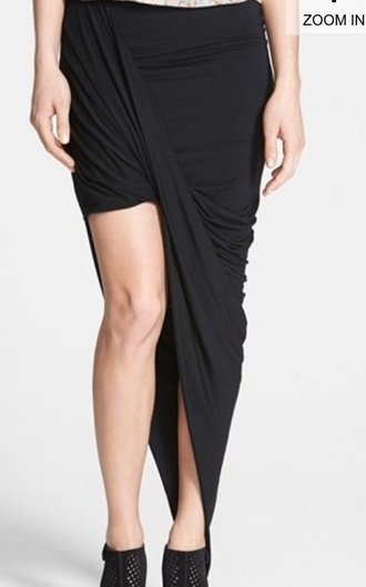 skirt asymmetrical skirt black skirt draped
