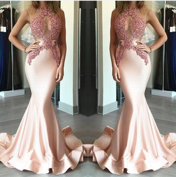dress, pink, nude, prom, sequins, iphone, party, prom dress - Wheretoget