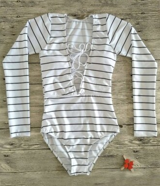 top zaful long sleeves stripes black and white lace up trendy casual bodysuit