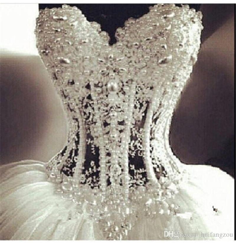 2015 bling bling backless white ball gown wedding dresses sweetheart beads pearls bone floor length custom made bridal gown online with $201.16/piece on huifangzou's store