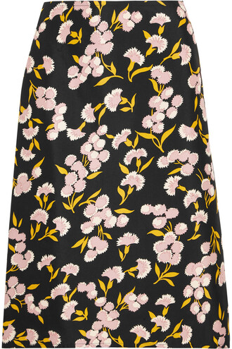 skirt floral cotton print silk rose black