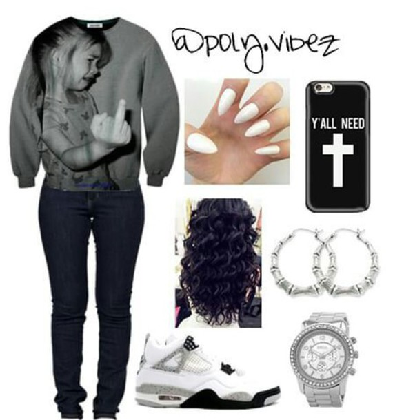 blouse middle finger sweater nails phone cover jeans