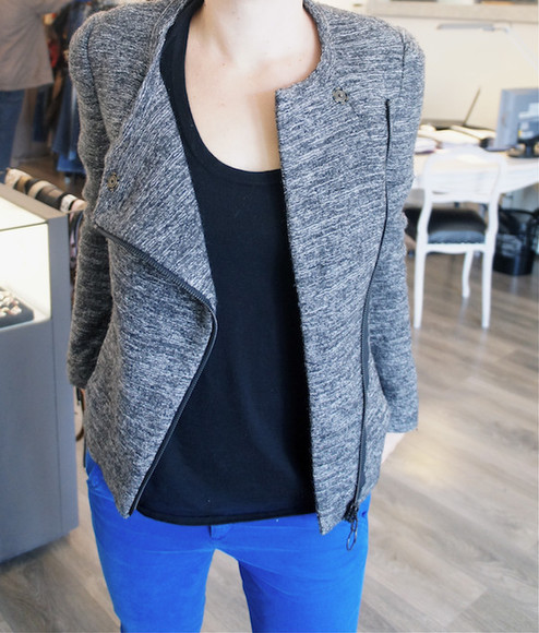 jacket perfecto gris chiné