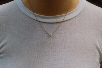 jewels gold small necklace gold necklace pearl pearl necklace choker necklace gold chain