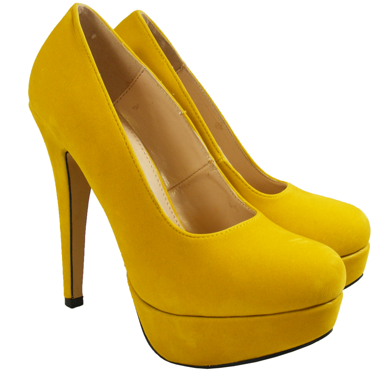 Womens Yellow Suede Platforms Fashion High Heels Court Shoes Size ...
