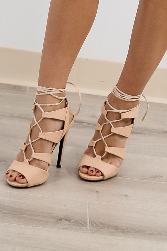 Up-Town Nude Strappy Heels
