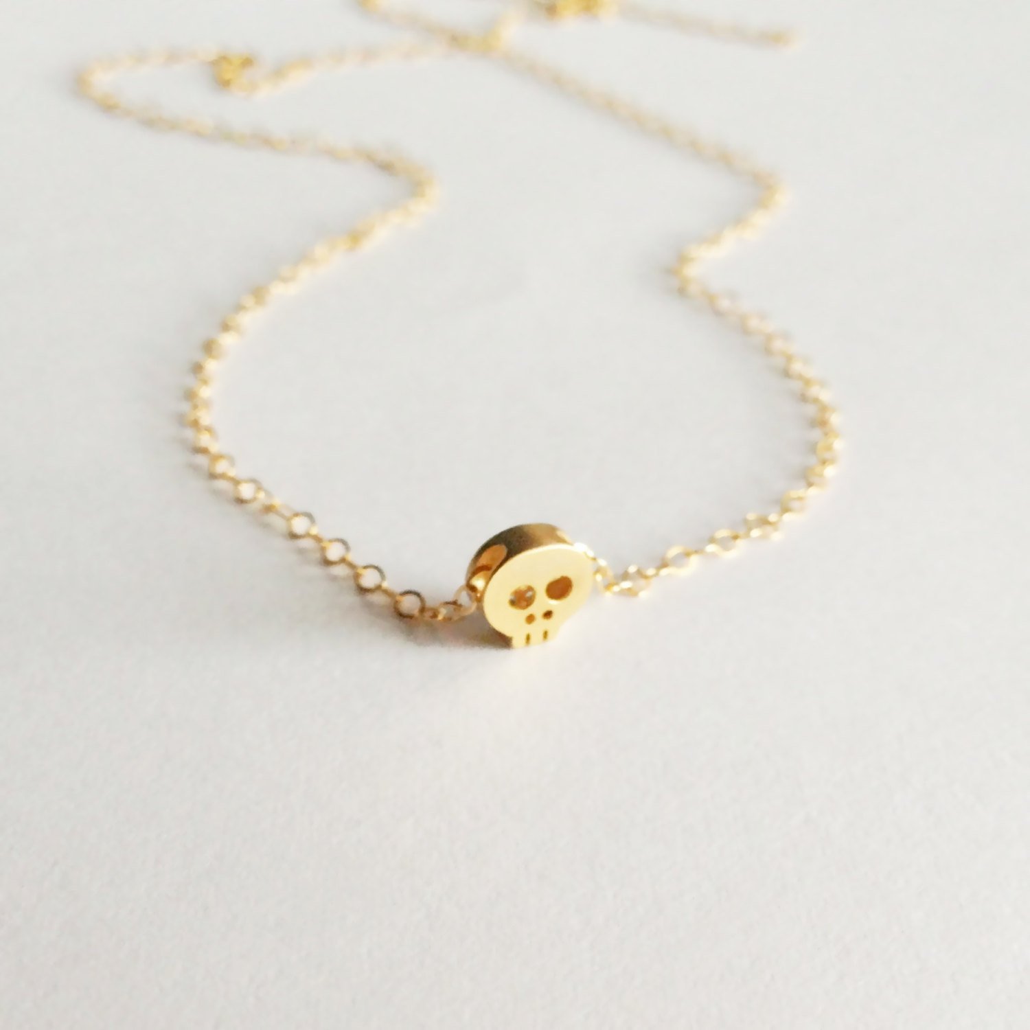 Tiny Gold Skull Necklace, Delicate Necklace
