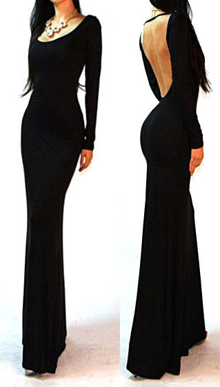 Sexy Black Minimalist Backless Open Cutout Back Slip Jersey Long Maxi Dress SML | eBay