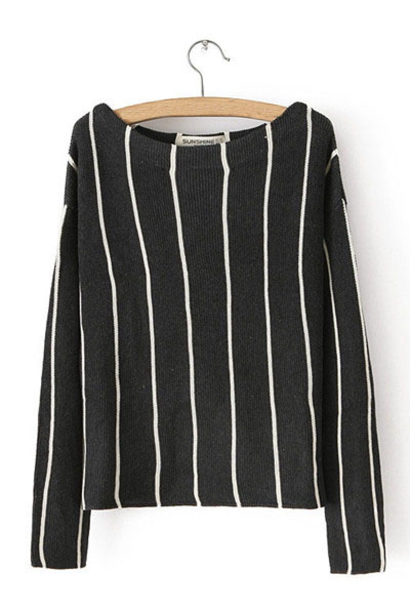 New Vertical Stripe Round Neck Long Sleeve Women Knitwear,Cheap in Wendybox.com