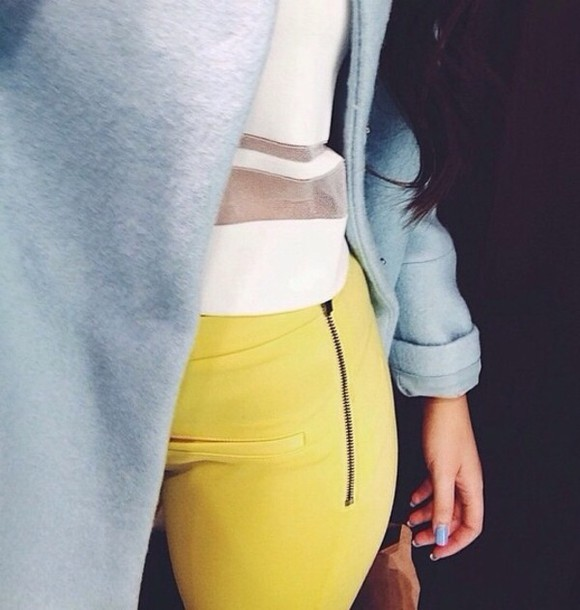 coat boyfriend coat baby blue blue coat light blue coat yellow pants mesh panel jeans