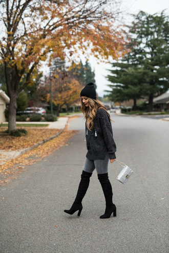 thegirlintheyellow dress blogger sweater jeans shoes bag hat beanie winter outfits thigh high boots boots grey sweater grey jeans