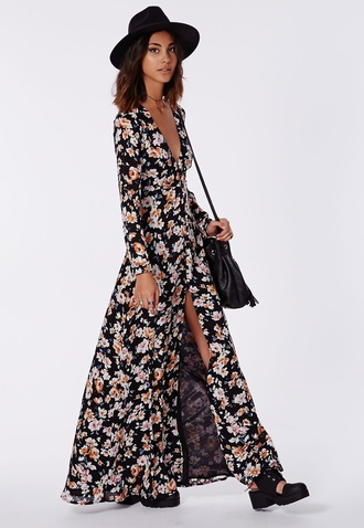 dress summer flowers spring maxi long floral black