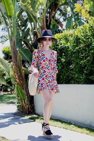 romper hat tumblr long sleeves floral floral romper sandals wedges wedge sandals espadrilles bag sunglasses shoes