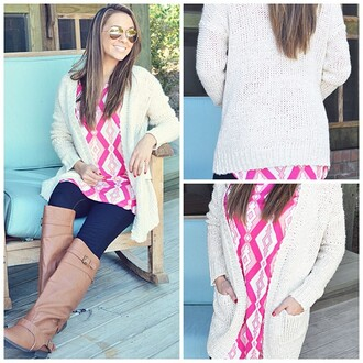 shirt sweater pink and white chevron diamonds jean/pant brown leather boots light pink dark pink sunglasses