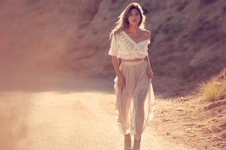rocky barnes blogger top skirt dress see trough skirt white top beige skirt midi skirt romantic
