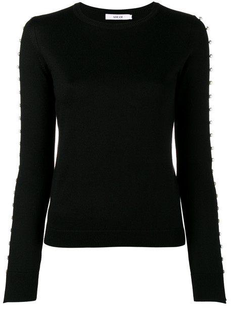 Adeam top knitted top women pearl embellished black silk