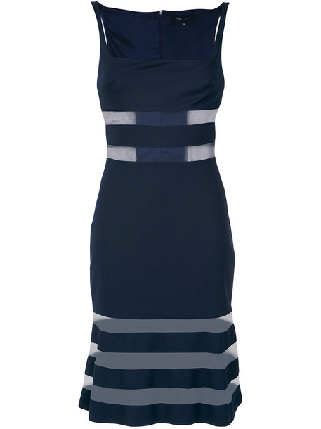 Gloria Coelho dress striped dress sheer women spandex blue