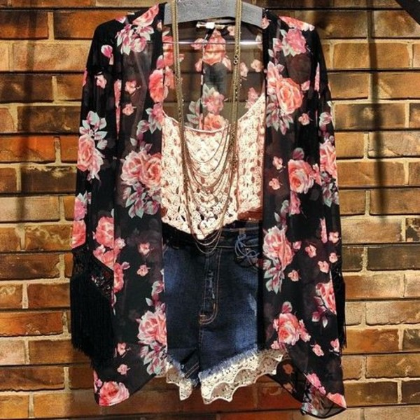 coat boho tank top shorts jewels cardigan