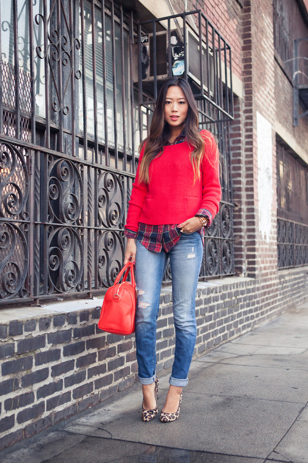 song of style sweater shirt jeans shoes bag