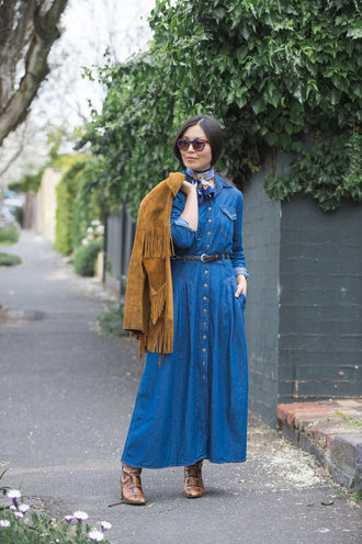 cecylia blogger fringed jacket suede fringe jacket denim dress