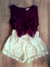 shirt,shorts,bow,bows,burgundy,bowed shirt,blouse,summer outfits,purple,lila,hot pants,red blouse with cream colored shorts,romper,maroon romper,top