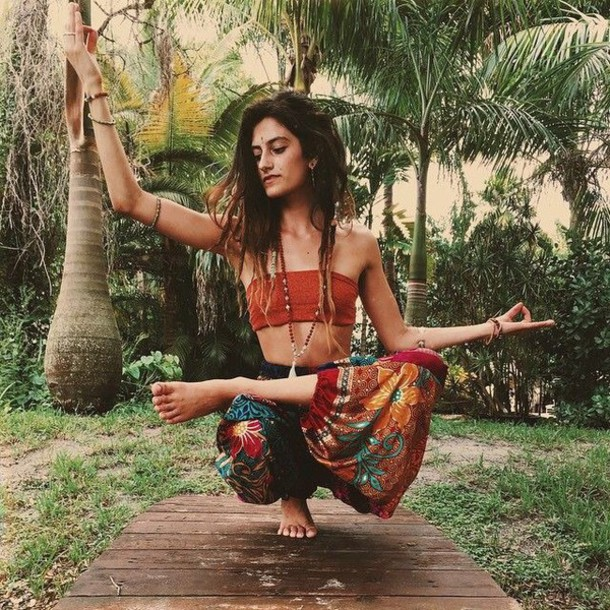 Pants Hippie Boho Gypsy Orange Goa Colorful Yoga Clothing Bohemian Wheretoget