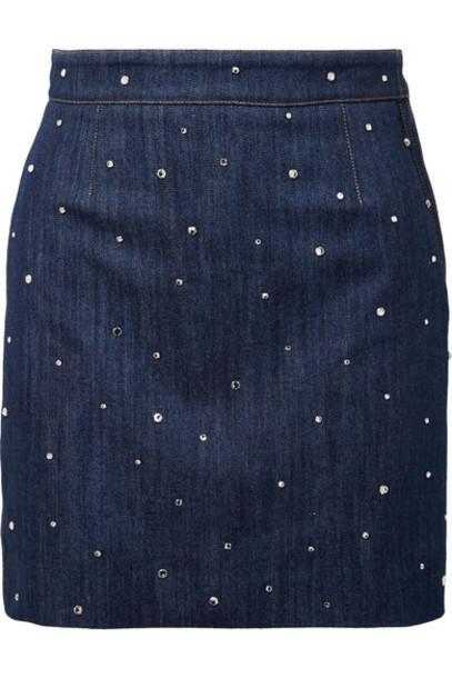 Miu Miu skirt mini skirt denim mini embellished embellished denim