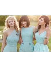 dress,mint green chiffon,mint green bridesmaid dress,bridesmaid,light blue,chiffon dress,aqua,turquoise,blue,mint,short dress,summer,cute dress,menthe,wedding clothes,prom,prom dress,aqua blue bridesmaids dress,summer dress,mini dress,turquoise party dress,cute,colorful