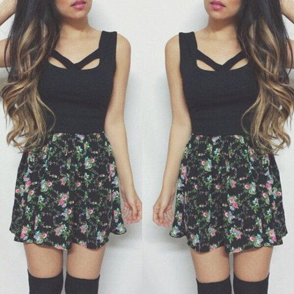 blue black pattern dress pink knee high socks clothes short dress