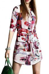 dress,eyes,lipstick,graphic print,shift dress