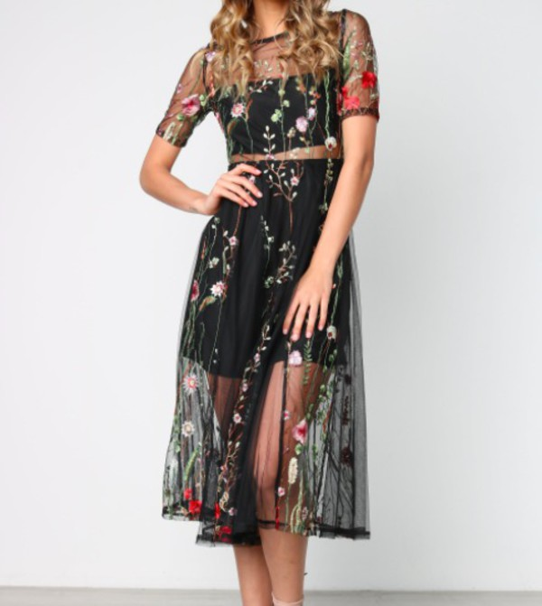 dress black lace floral embroidered mesh love beautiful adelaide australia asap black dress