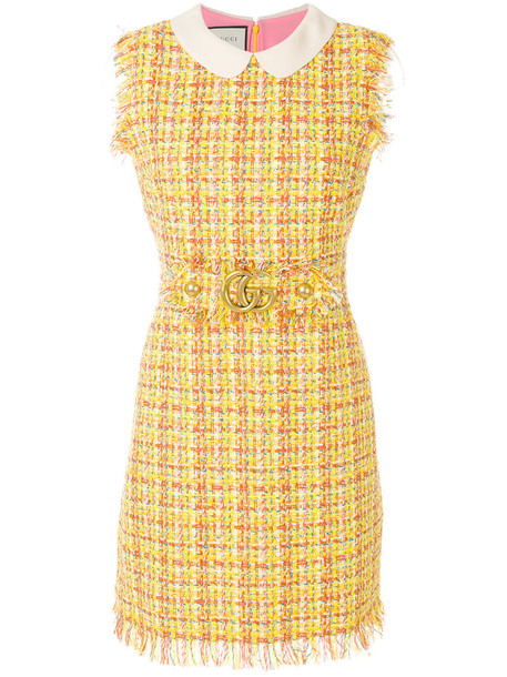 gucci dress women cotton yellow orange