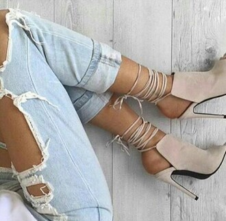 shoes nude beige taupe neutrals suede boots suede heels high heels lace up ankle boots grey