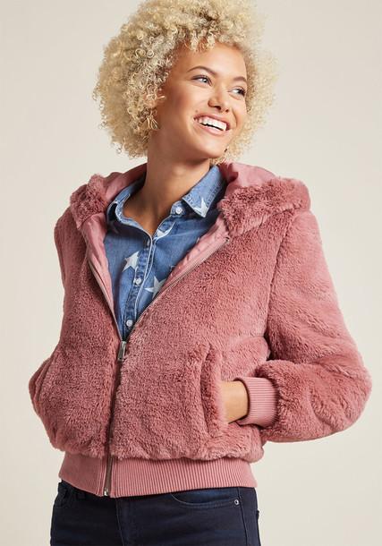 Modcloth jacket fur jacket fur soft pink