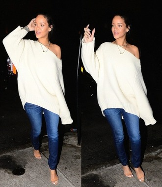 sandals rihanna oversized sweater off the shoulder sweater rihanna jeans