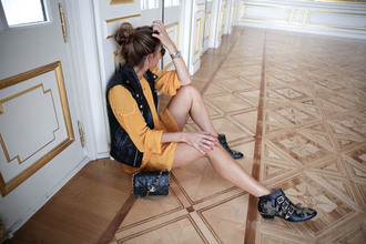 b a r t a b a c blogger dress shoes bag yellow dress chanel bag vest ankle boots