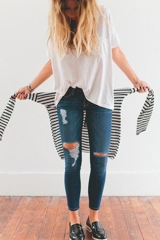 jeans dark wash distressed