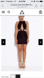 dress,cross front knee length black dress,shoes