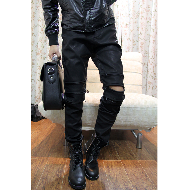 Clothing fashion fashion punk personality zipper opening low waist male casual leather pants male-inPants from Apparel & Accessories on Aliexpress.com