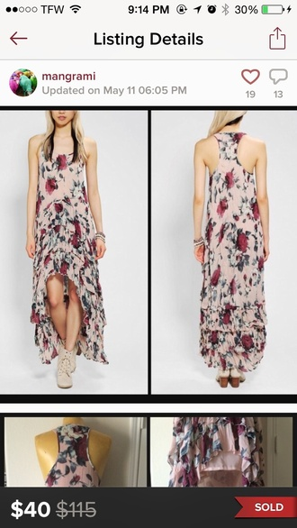 dress floral dress urban outfitters boho dress maxi dress maxi pink dress blue dress layered floral maxi dress roses ruffle