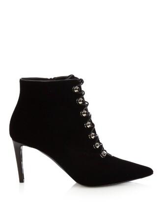 boots ankle boots velvet ankle boots velvet black shoes