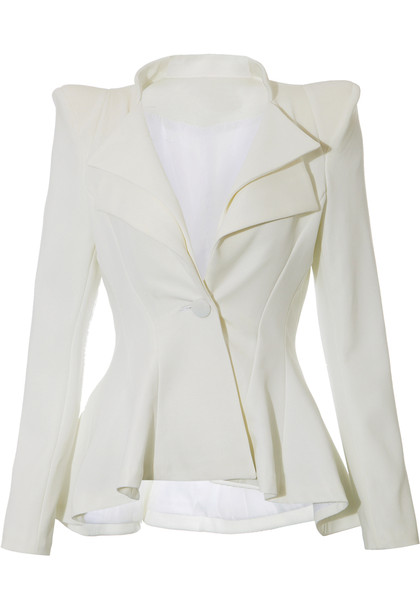 Double Lapel Fit-and-flare Blazer - White