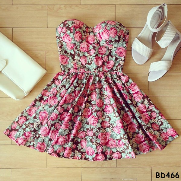 dress bustier dress floral vintage cute dress dress