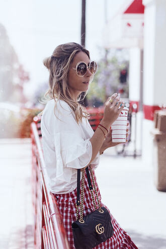 mesvoyagesàparis blogger skirt bag shoes sunglasses white blouse gucci bag gucci spring outfits