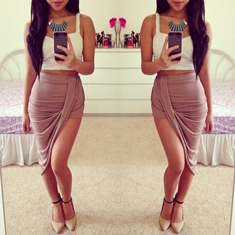 skirt tan asymmetrical rippled summer outfits spring fashion halfup halfdown cute beige high wasted sexy slit skirt