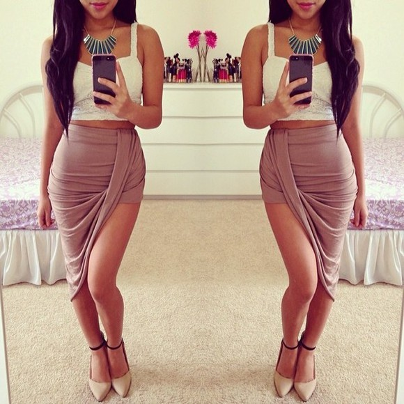 skirt fashion asymmetrical tan rippled summer spring beige halfup halfdown cute