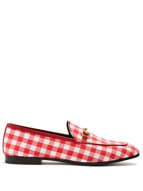loafers gingham white red shoes