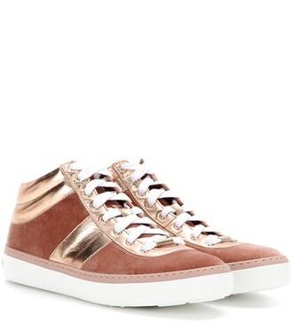 metallic sneakers leather velvet pink shoes